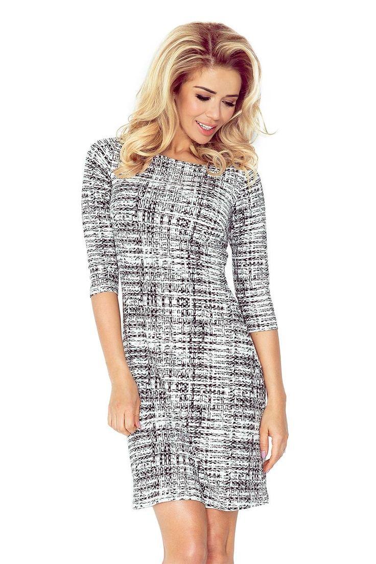 Sukienka Lekko Rozkloszowana z Wzorem NU88-15