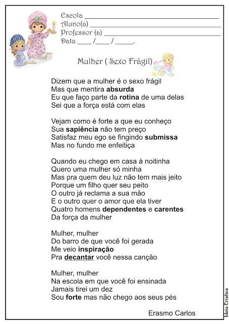 Atividade Dia da Mulher Com Musica Mulher Sexo Frágil ( Erasmo Carlos)