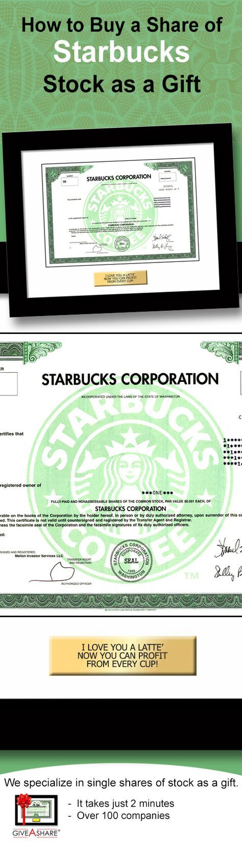 Learn how to buy a share of Starbucks stock. Great gift idea - May your cup always be full and your portfolio strong!