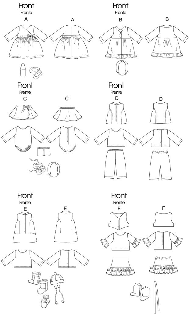 Free Printable Doll Clothes Patterns | M6257 | Clothes For ...