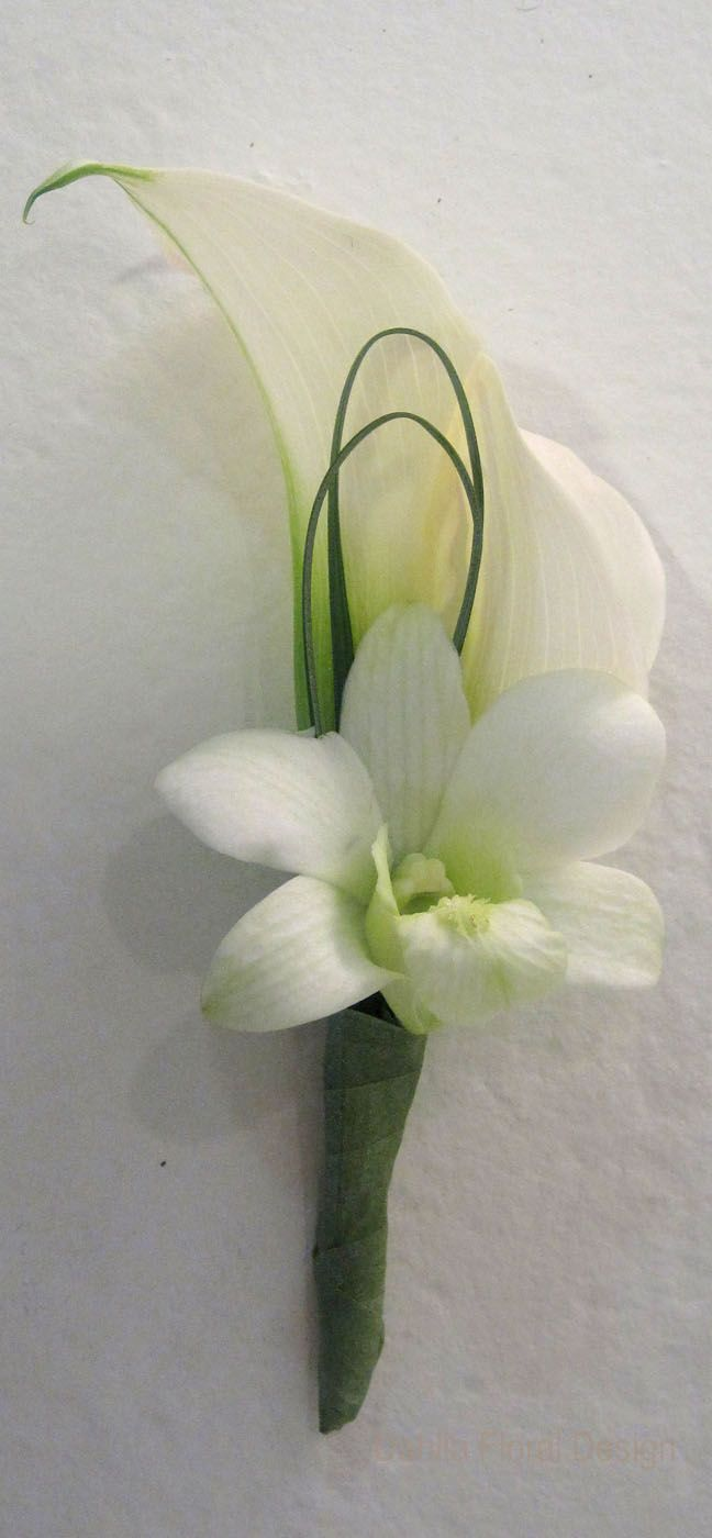 calla lily and orchid wedding flower boutonniere, groom boutonniere, groom flowers, add pic source on comment and we will update it. www.myfloweraffair.com can create this beautiful wedding flower look.