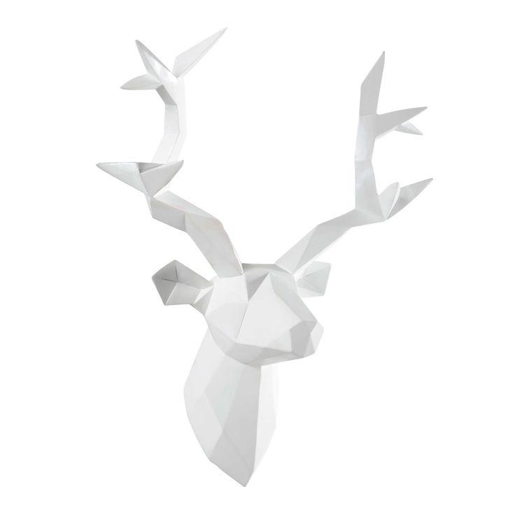 Déco murale tête de cerf blanche 45 x 47 cm ORIGAMI