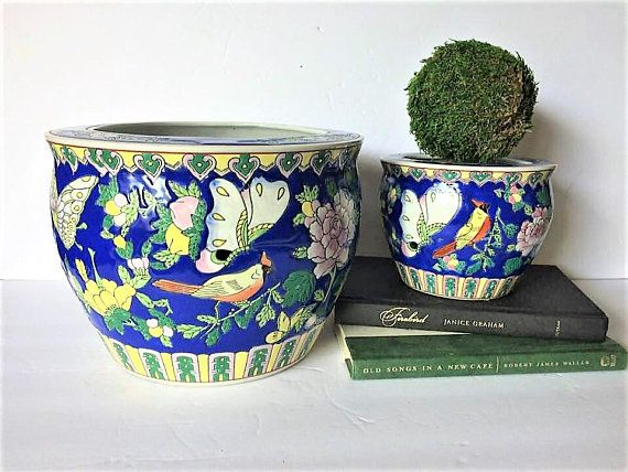 Pair Vintage Planters Indoor Planters Chinoiserie Planters