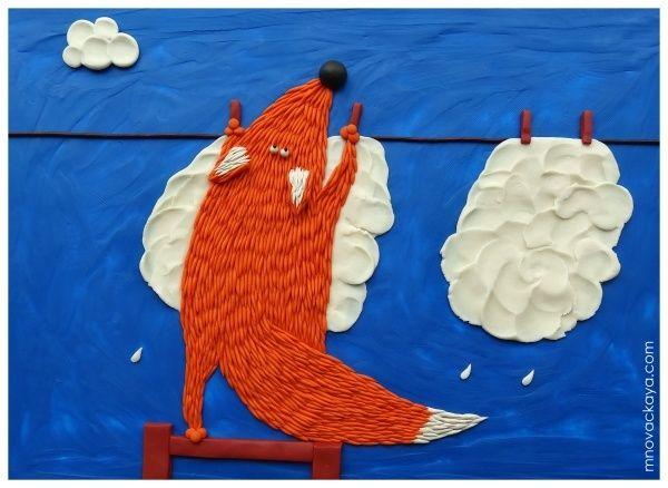 Просмотреть иллюстрацию Лис с облаками из сообщества русскоязычных художников автора Марья Новацкая в стилях: 2D, Детский, Персонажи, нарисованная техниками: Пластилин.