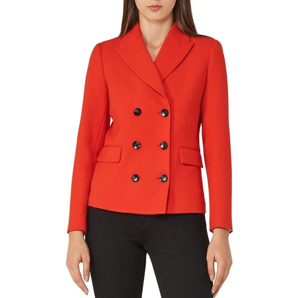 Reiss Izzy Double-Breasted Cropped Jacket ($445) ❤ liked on Polyvore featuring outerwear, jackets, maraschino, reiss, red double breasted jacket, red jacket, reiss jacket and double breasted jacket