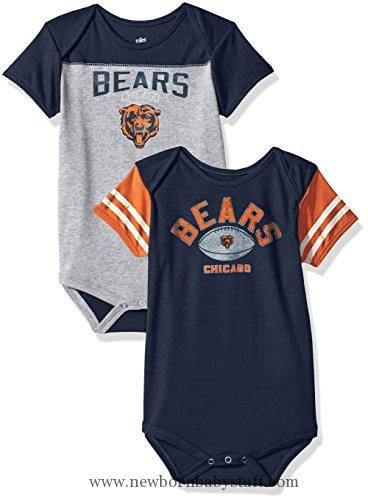 "Baby Boy Clothes NFL Chicago Bears Boys Infant ""Vintage Baby"" 2Piece Onesie Set, Heather Grey, 18 Months"