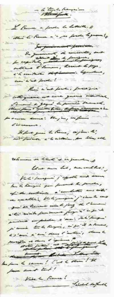 """Manuscrit original de """" l`Appel à tous les Français """" du général de Gaulle, 1 feuillet recto verso."""