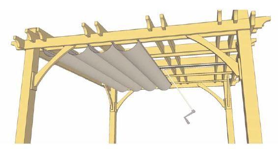 Pergola Retractable Canopy Kits | Diagram of Retractable Canopy for 10' x 12' Pergola | Wish my