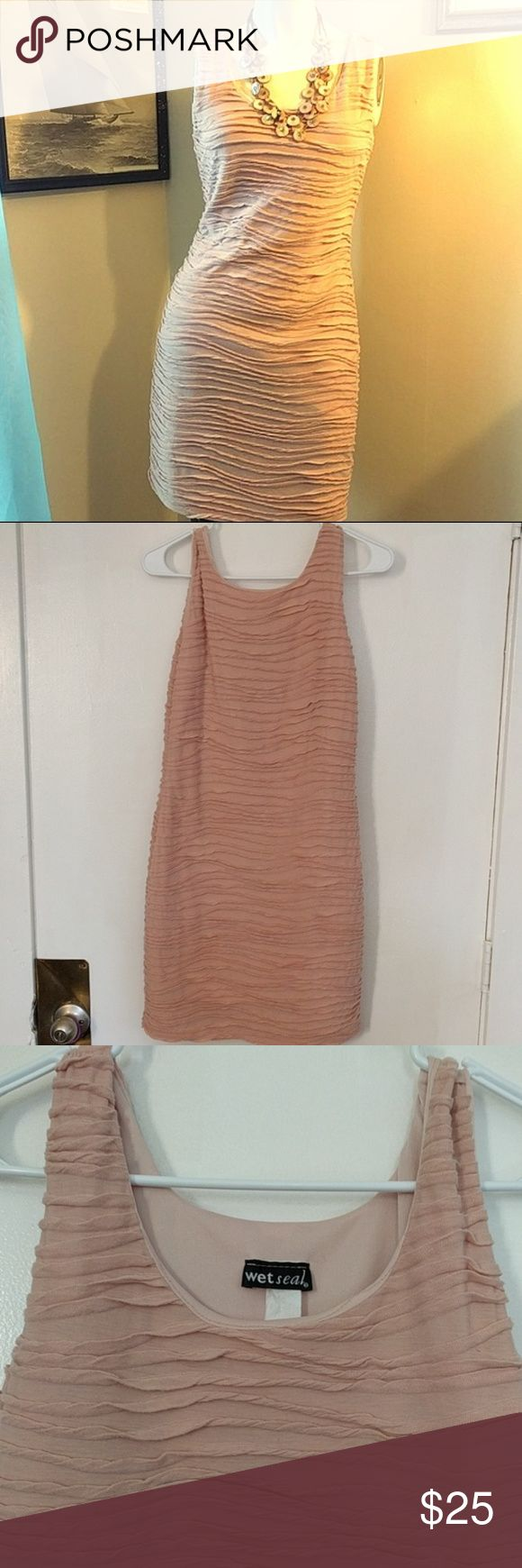 #WetSeal Pink Ruffle Bodycon Dress Really soft Jersey fabric feel wet seal dress, sexy fit. EUC. No size tag, best guess is a medium! Wet Seal Dresses Mini