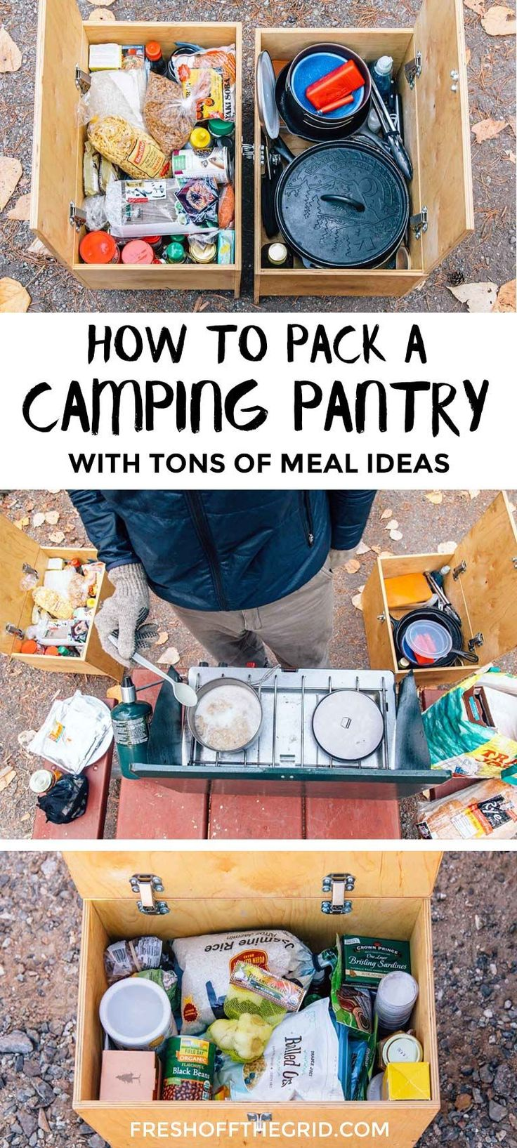 How to stock a Camping Pantry tips + tons of easy camping meal ideas! Always be prepared to cook the best camping food on your adventures!