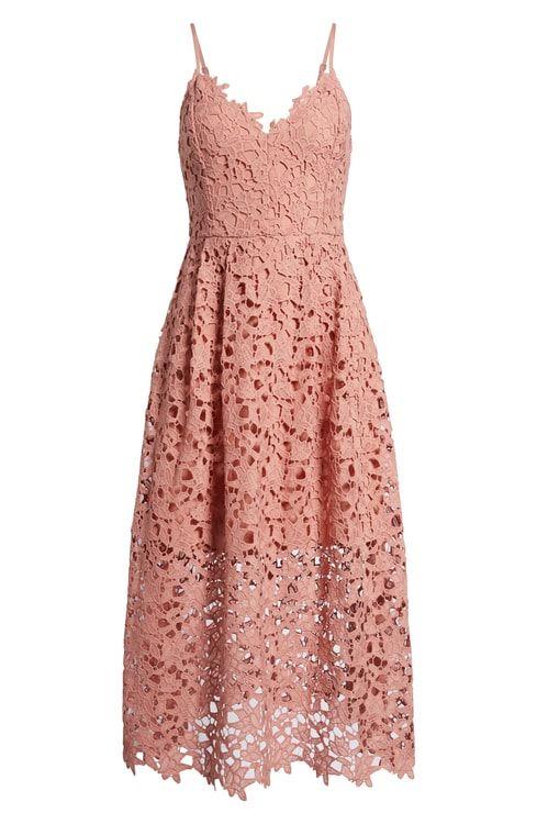 Pink Lace Wedding Guest Dress Lace Midi Dress Fall Wedding Guest Dress Wedding Attendee Dress