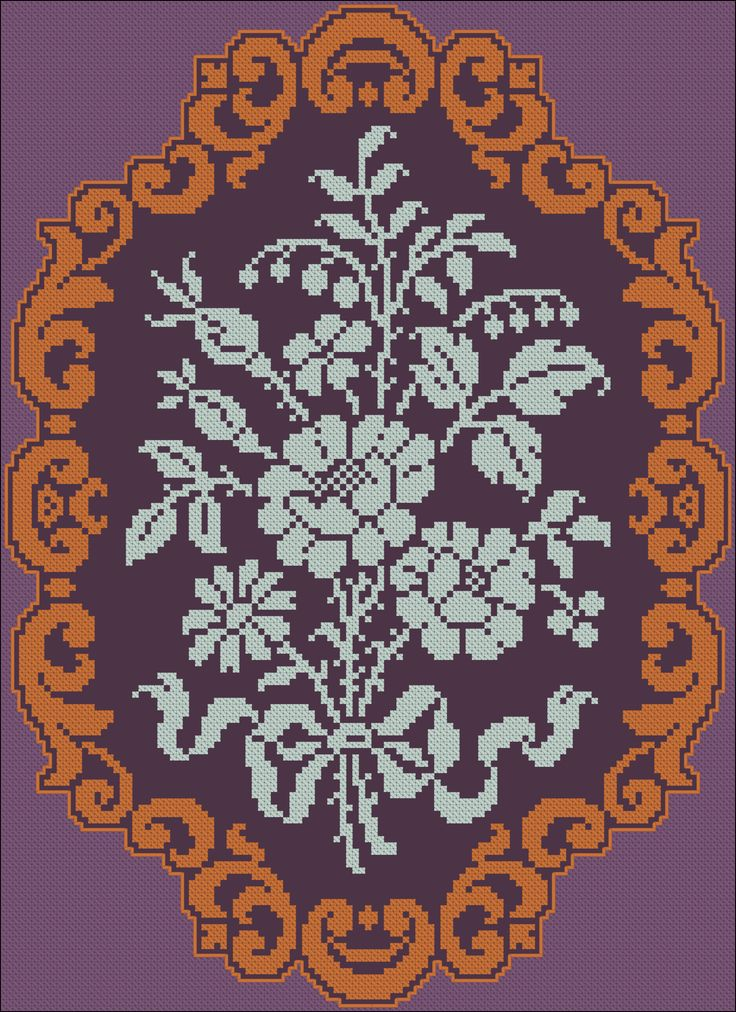 Doily, Louis XV Style | Chart for cross stitch or filet crochet.