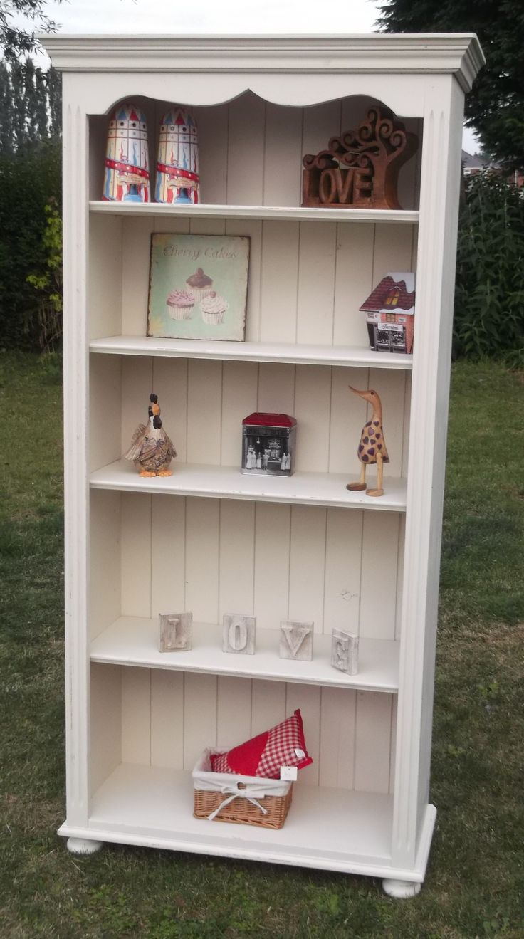 tall solid pine painted bookcase