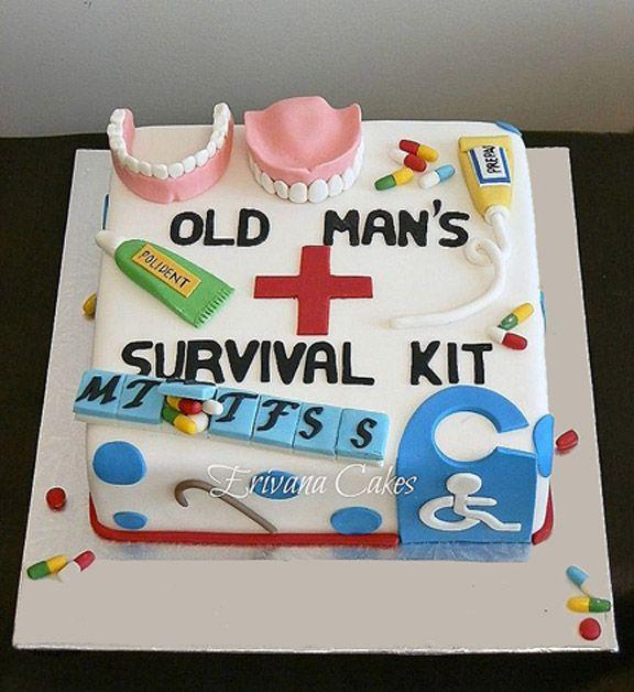 """Old man's"" birthday cake, humor."
