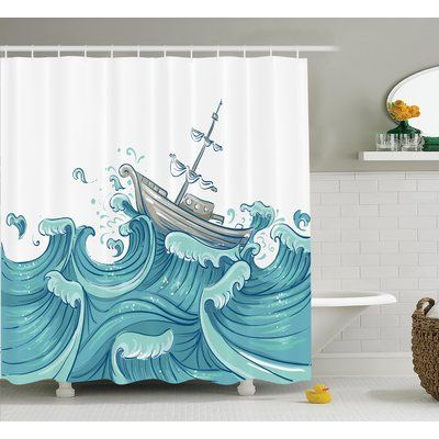"East Urban Home Giant Waves Nautical Decor Shower Curtain Size: 69"" H x 84"" W"
