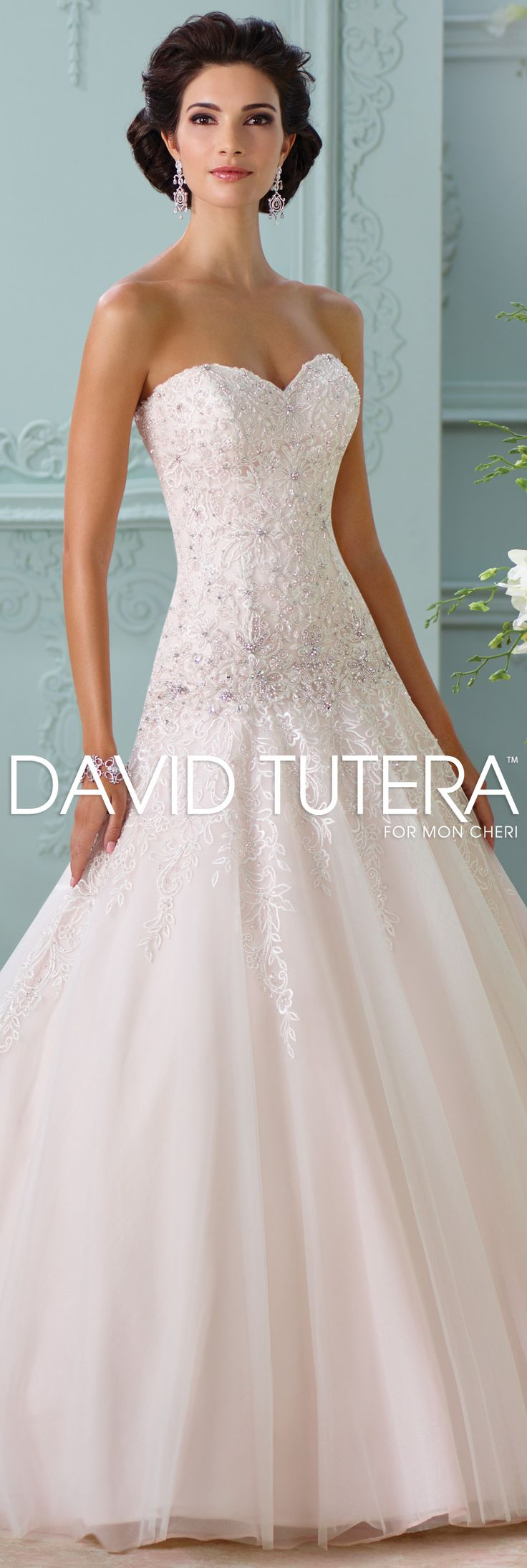 The David Tutera for Mon Cheri Spring 2016 Wedding Gown Collection - Style No. 116214 Ora #laceweddingdresses