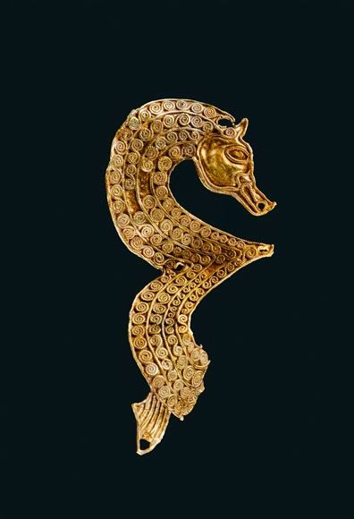 Anglo-Saxon Filigree Seahorse from the Staffordshire Hoard, c. 7th-8th Century Many of the pieces in the Staffordshire Hoard are decorated using filigree, a technique which creates patterns by soldering lengths of twisted wire to a base plate. This...