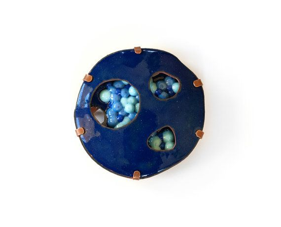 Blue Contemporary Brooch  Art Jewelry  Contemporary Jewelry