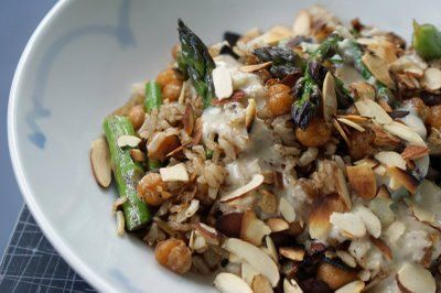 Stir-fried chickpeas and asparagus with Quinoa and lemon tahini dressing