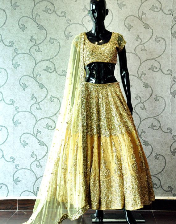 HAND EMBROIDED GOLD SEQUIN LEHENGA