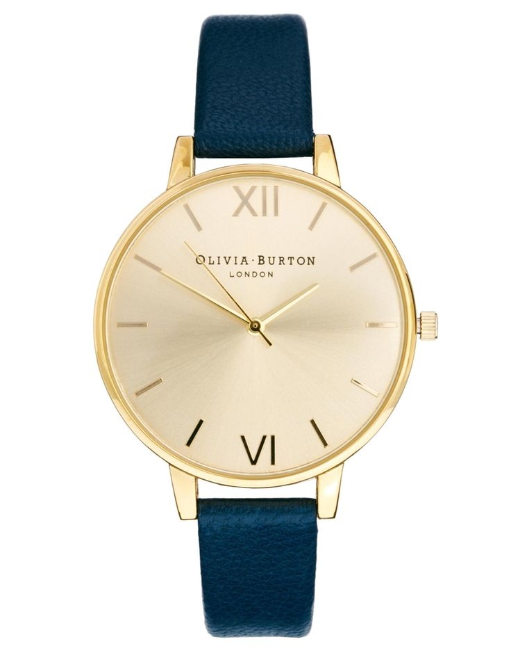 Slightly smaller face? Watch by Olivia BurtonMade from a real leather strapGold-tone trimRound faceRoman numerical indicesStem detailingTriple-hand movementAdjustable fitPin-buckle fastening