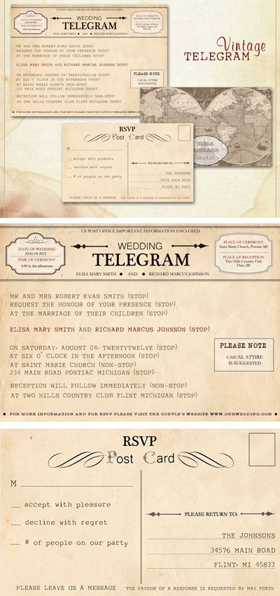 vintage telegram wedding invitations