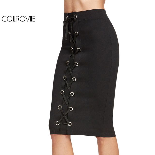 Fair price COLROVIE Black Midi Skirt Women Eyelet Lace Up Front Vintage Sexy Pencil Skirts 2017 Fashion Elegant Ladies Work Summer Skirt just only $12.98 with free shipping worldwide  #womanskirts Plese click on picture to see our special price for you
