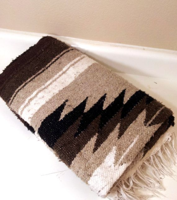 Vintage Southwestern Blanket Brown Black Woven Wool By