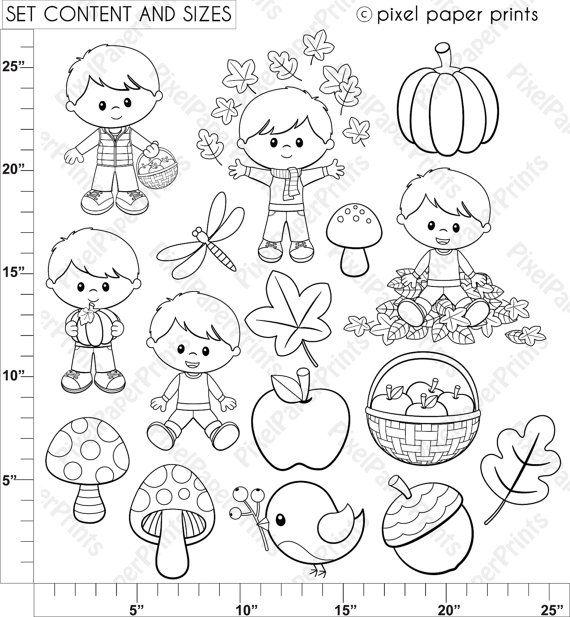 Autumn Boys Digital stamps Clipart Fall Line art