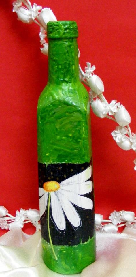 #handmade #vase #bottle #painting by Oana Iorgulescu