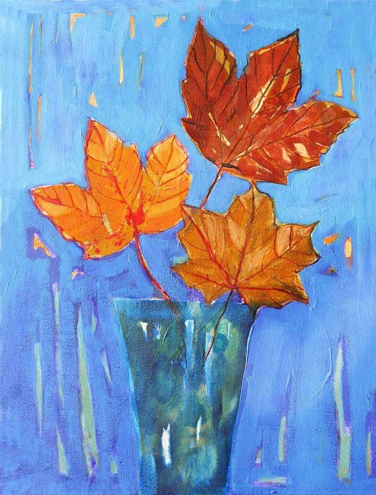 "Saatchi Art Artist Ewa Dabkiewicz; Painting, ""Three autumn leaves"" #art"