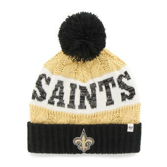 6328115e9286e  47 Brand New Orleans Saints Women s Gold Swanson Cuff w Pom Knit Beanie