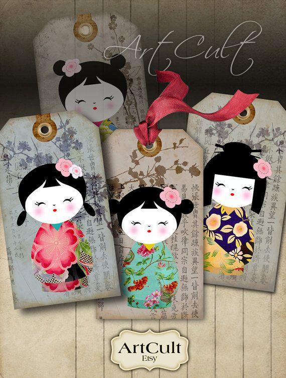 ÉTIQUETTES à cadeaux KOKESHI - Digital Collage feuille imprimable Télécharger Images poupées japonaises washi papier bijoux titulaires scrapbook