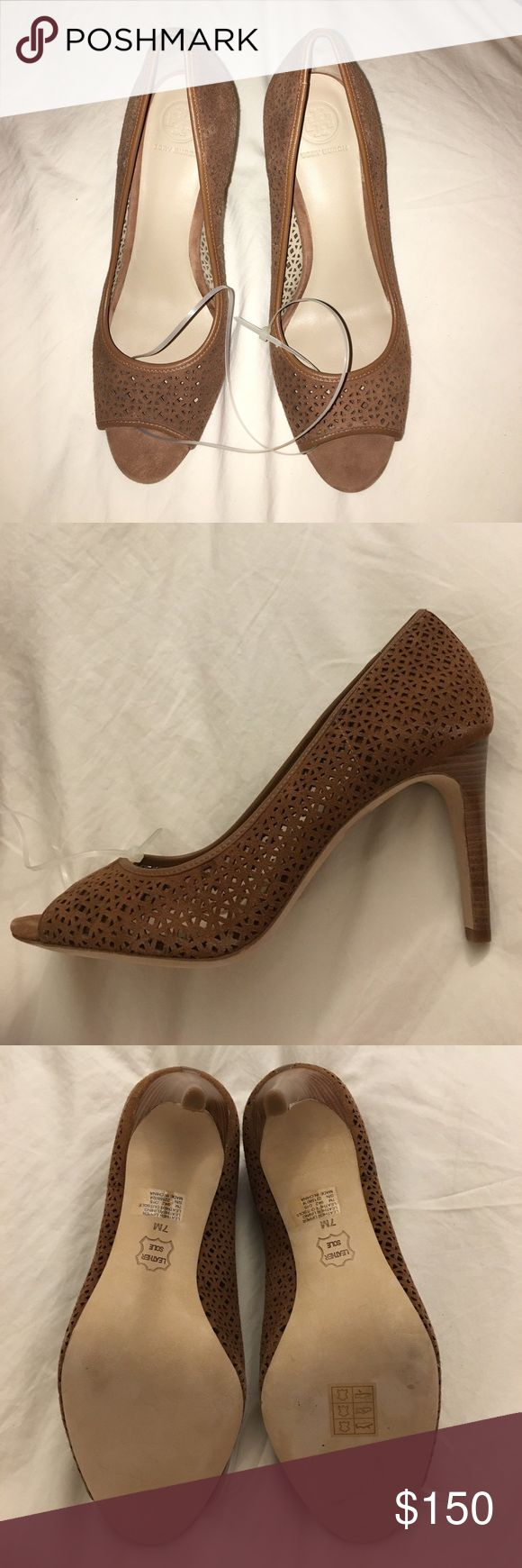 Tory Burch Peep Toe Pumps Perforated peep toe pumps. Tory Burch Shoes Heels