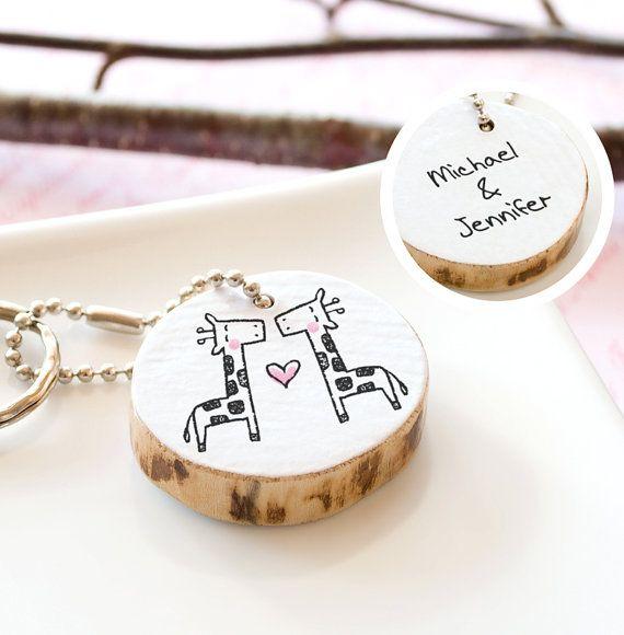 Cute Wedding Gift Ideas: Giraffe Couple Keychain PERSONALIZED Bridal Shower Gift