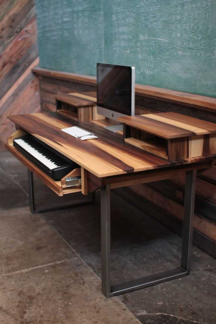 Poplar and steel recording studio desk. It's an incredible finish on a typically unremarkable wood: the right sealer and sunlight turns the greens in raw popular into rich browns.