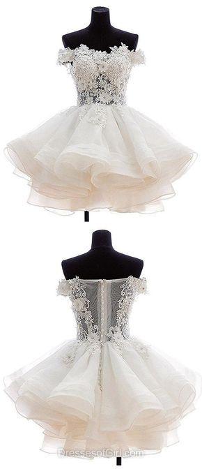 Short Homecoming Dresses, Lace Cocktail Dresses, White Party Dresses, Simple Graduation Dresses, Cute Prom Dresses