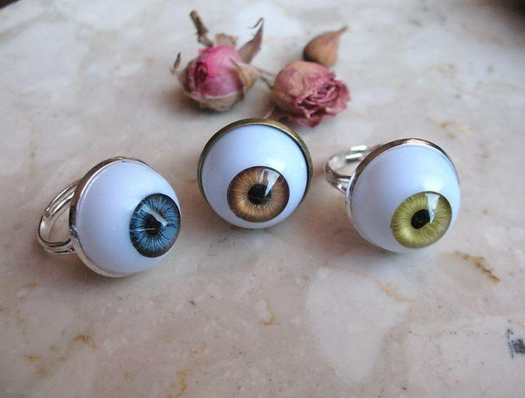 Human Eye ring 18mm cabochon / Hipster ring / Devil Halloween eye ring by KoenigsbergGifts on Etsy https://www.etsy.com/listing/214113547/human-eye-ring-18mm-cabochon-hipster