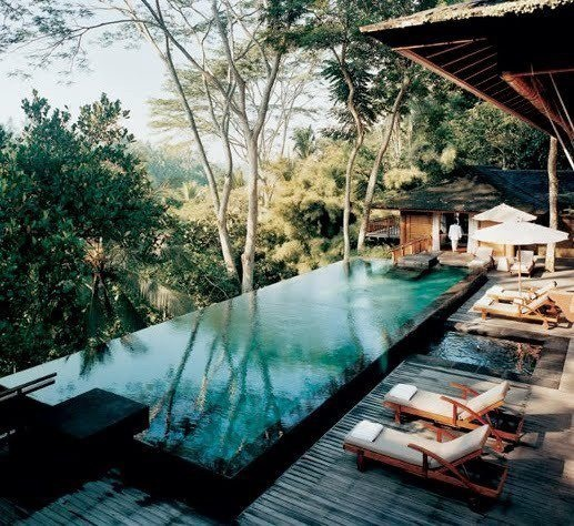 Outdoor pool and loungers