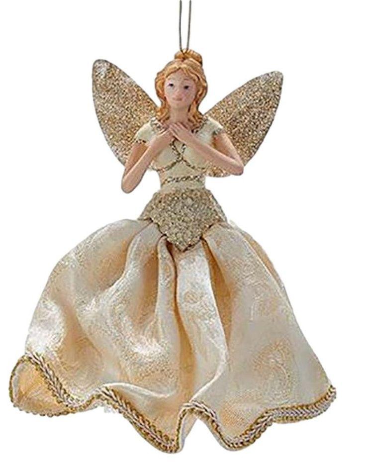 "Kurt Adler 7"" Ivory and Gold Blonde Angel Ornament Tabletop Tree Topper"