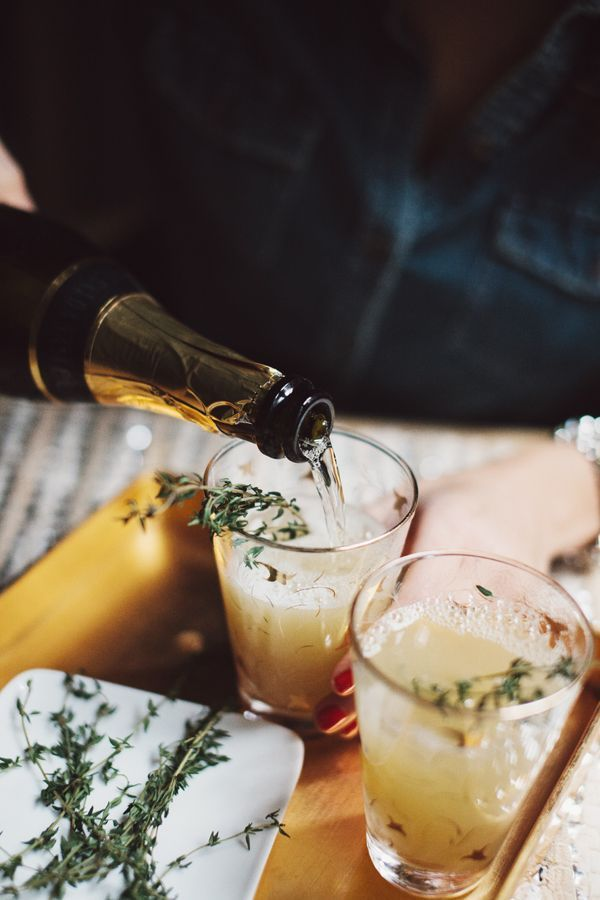 Pear nectar and thyme mimosas.