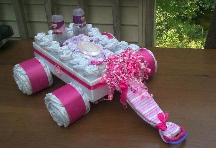 Diaper Cake Wagon - Baby Shower Gift. $65.00, via Etsy.