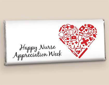 Nurse Appreciation Week Candy: Heart of Healthcare Hershey's wrapped chocolate candy bar