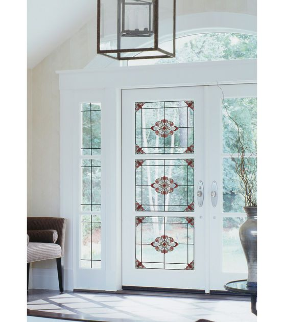 Classical design traditions are swirled with an art nouveau inspiration in this beautiful peel and stick stained glass window film. Create an authentic architectural detail and illuminate your glass w