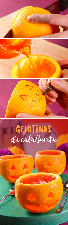 Gelatinas de Calabacita Aprovecha esta temporada de día de muertos y halloween para darle a tus hijos un snack divertido que será la envidia de todos sus amigos. ¡No dejes de intentarlo! Materiales: • Naranja • Gelatina de naranja • Cuchillo • Cuchara • 1 sobre de gelatina preparada como indica el empaque • Plumón