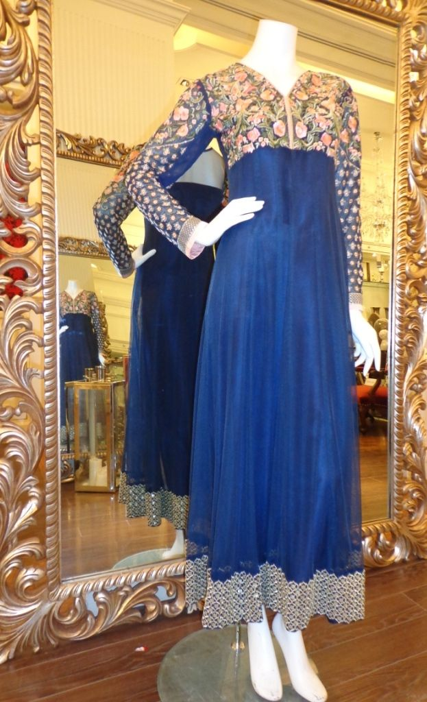 Buy Blue Embroidered Chiffon Peshwaas Dress by Thread and Motifs Collection.