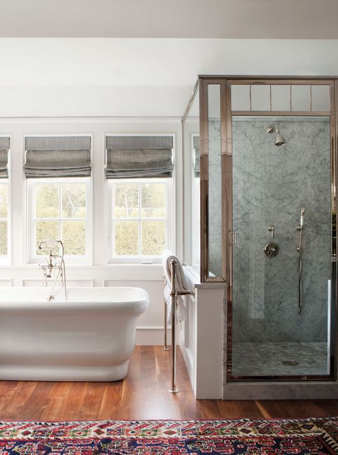 California Eclectic Gets a Traditional TwistGlass Showers, Shower Frames, Tall Shower, Shower Doors, Large Bathtubs, Beautiful Bathroom, Frames Shower, Master Bath, Nickel Shower
