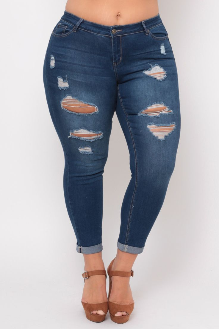 Plus Size Ripped Push Up Jean - Medium Wash