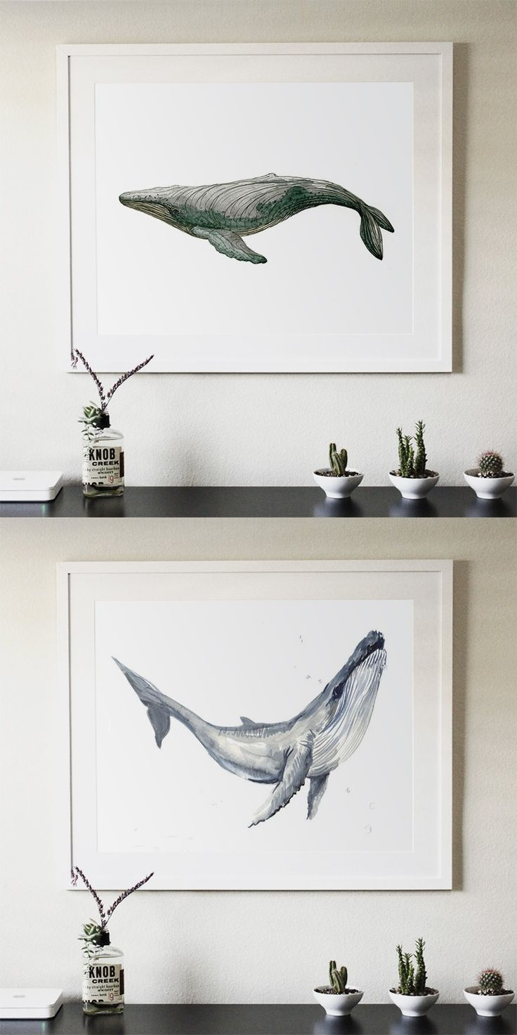 Two kinds of Whale abstract modern decorative 40X50CM painting watercolor paintings minimalist Home Furnishing jewelry $59
