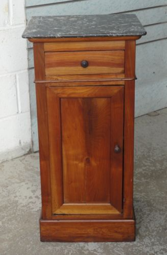 ANTIQUE-VICTORIAN-WALNUT-FRENCH-MARBLE-TOP-POT-CUPBOARD-BEDSIDE-WITH-DRAWER